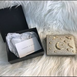 Charles & Keith Galaxy Embellished Gold Cardholder
